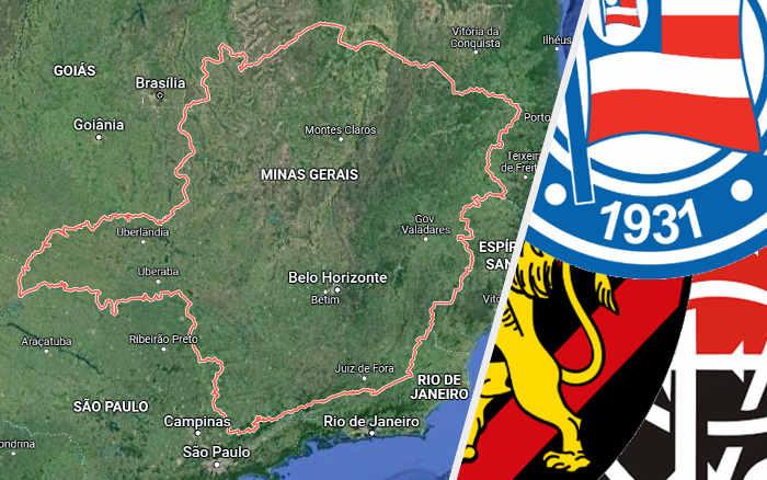 Pesquisa de torcida em Minas Gerais com Bahia, Sport e Vitória; cena rara no Sudeste